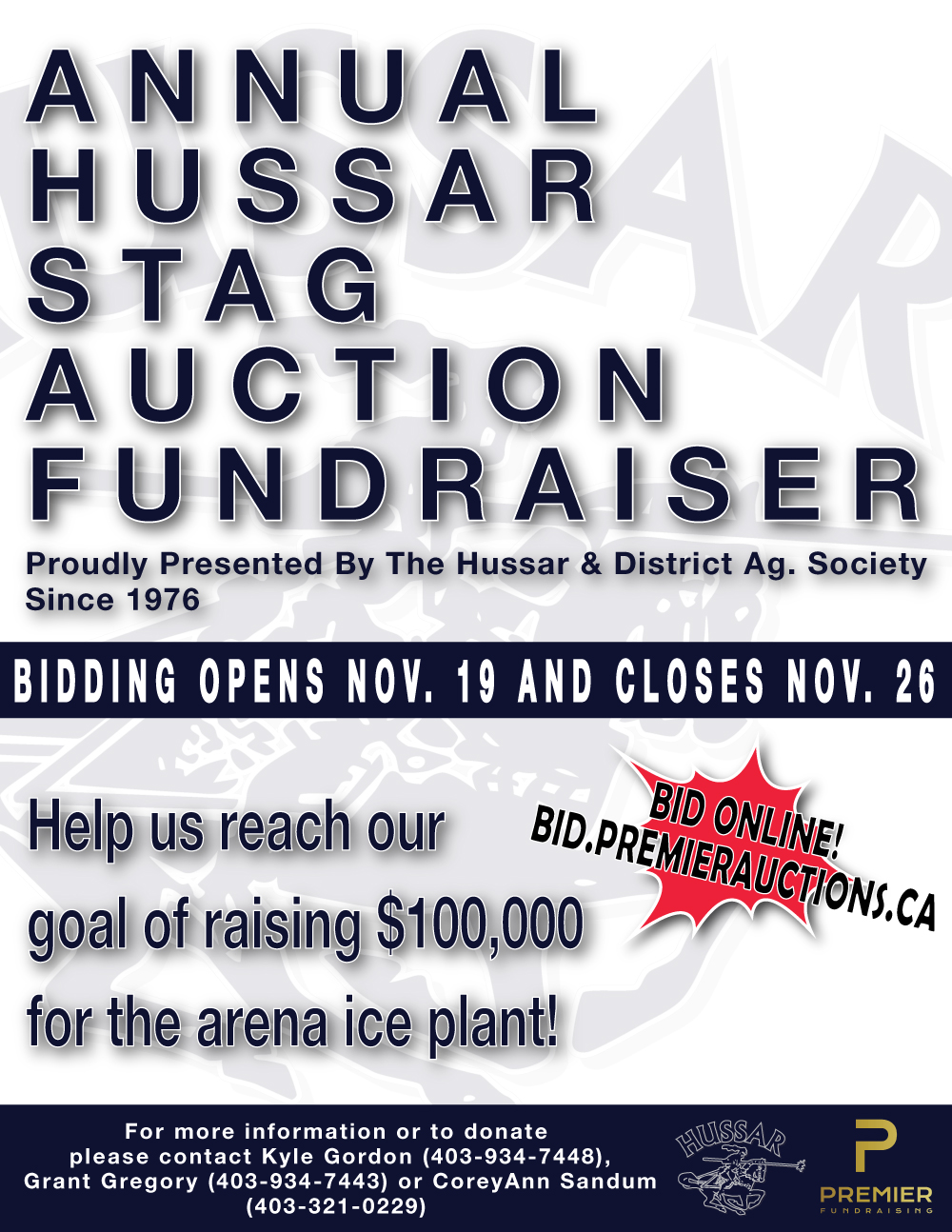 Hussar Annual Stag Auction Fundraiser November 26, 2021